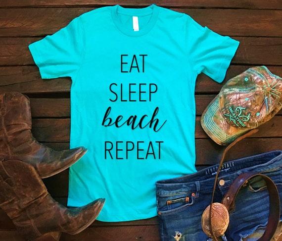 Eat Sleep Beach Repeat Unisex T Shirt, Southern T Shirt, Spring Brreak Country Concert, Bar Shirt, Funny Shirt, Boutique Shirt, Pink Glitter