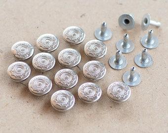 100 Sets - 9 mm Silver Star Snow flake Rivets Decorations, Fancy Rivets, Bag Making, Jeans, Leather Craft - KK.8