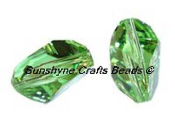 Swarovski Crystal Beads 5650 PERIDOT Faceted Cubist Bead - Available in 2 Sizes