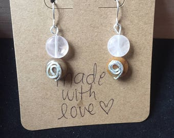 Clear and Tan Spiral Beaded Earrings
