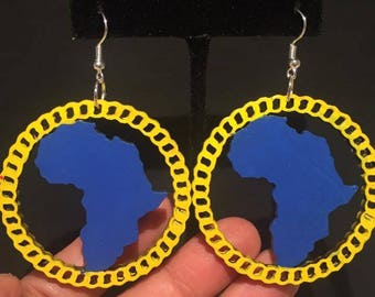 Blue and Yellow Circle Africa Earrings