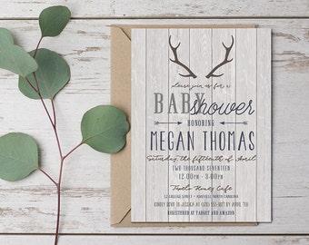Rustic Baby Shower Invitation, Deer Antlers - Digital {or} Printed