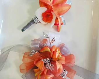 Prom Corsage Orange and Silver Prom Corsage with Matching Boutonniere Ready to Ship