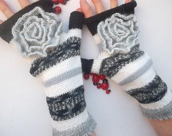 Women Size L 20% OFF Knitted Bohemian Gloves Boho Fingerless Mittens Striped Warm Accessories Feminine Wrist Warmers Winter Arm 1167