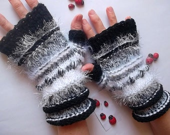HAND KNITTED GLOVES / Fingerless Mittens Women Cabled Romantic Striped Warm Accessories Gift Elegant Feminine Wrist Warmers Winter Arm 865
