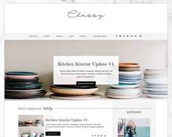 "Feminine Blogger Template ""Classy 2.0"" / Responsive Blogger Template / Professional Lifestyle + Fashion Blog Design"