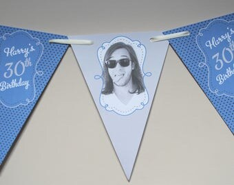 Personalised Birthday Bunting Banner 5th 13th 16th 18th 21st 30th 40th 50th 60th Banner Boys (Photo option)