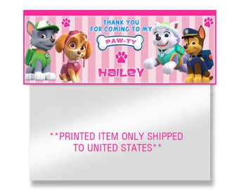 girl paw patrol Favor Bag Toppers- Digital and Printed