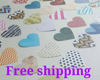 50 heart cutouts, heart shapes, heart die cuts, different colors. Free shipping.