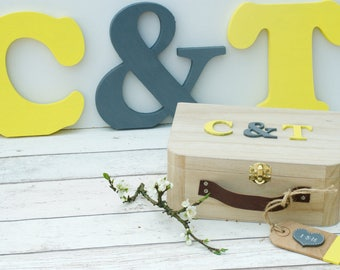 Wedding Photo Prop Wooden Initials and Guest Book Alternative  Personalised Wooden Suitcase Keepsake Memory Box