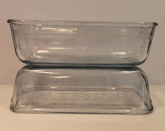 Anchor Hocking - Fire King - Blue Sapphire Philbe - Fire King Loaf Pan - Set Of 2 Glass Loaf Pans - Fire King Philbe Pattern