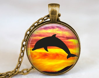 Sunset Black Dolphin - Nature Animal Handmade Pendant Necklace