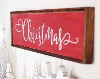 Christmas Wooden Sign - Holiday Sign - Wood Sign Christmas - Custom Sign - Red Christmas Sign - Farmhouse Decoration - Farmhouse Christmas