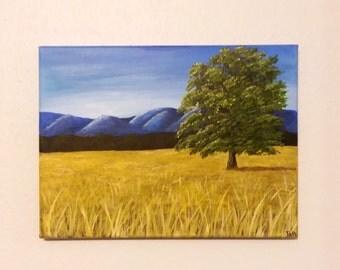 Tree in field, Mountain landscape, Wall painting, field painting, tree picture, tree in field picture, Mountain painting, tree painting