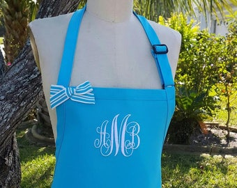 Turquoise Apron monogrammed in white thread / Mother's day gift idea /Hostess gift idea /gift under 30