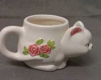 Beige Cat with Pink Ears Nose Mouth and Flowers Cat Tea Cup with Tea Bag  Holder