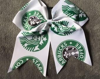 Large White Coffee Cheer Hair Bows