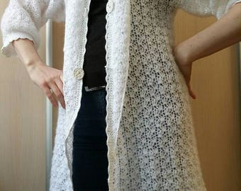 knitted cardigan mohair white