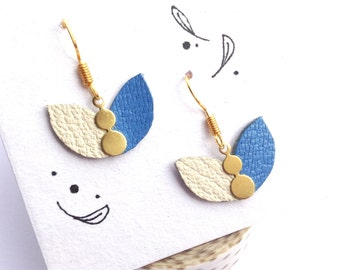 Petal earrings in white blue leather