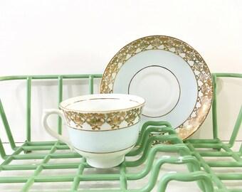 Vintage tea cups Colclough China Bone china Made in England tea service vintage tea set pale blue gold