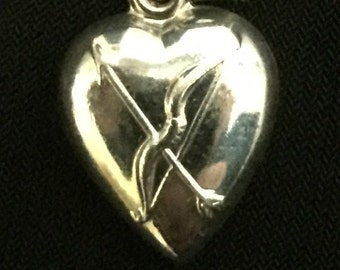 FREE SHIPPING-Vintage-1940's-Sterling-Silver-Bow-Arrow-Puffy-Heart-Charm-3D-5/8""