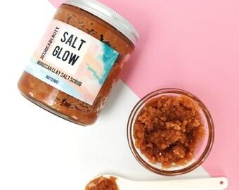 Salt Glow Moroccan Clay Salt Scrub  Exfoliating Salt Scru  Mineral Rhassoul Clay Scrub  Rose Oil Body Scrub  Luxurious Body Scrub