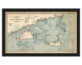 A Colored Chart of Vineyard Sound Lt Ship to Chatham-Chart C- by George W. Eldridge 1924