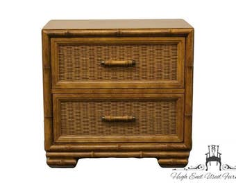 AMERICAN of MARTINSVILLE Faux Bamboo & Cane Chest Nightstand 2282-371