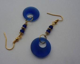 Sea Glass Royal Aqua Sapphire Blue Donut Earrings