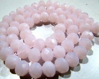 Top Quality Hydro Rose Quartz Rondelle Faceted Beads , 8mm Size Pink Chalcedony Beads , 70 to 75 Beads approx per Strand , Pink Quartz Beads