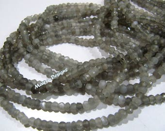 Genuine Grey Moonstone Rondelle Faceted Beads , 3 to 4 mm Natural Moonstone , Strand 13 inch long , Micro Faceted Gemstone Beads- Wholesale.