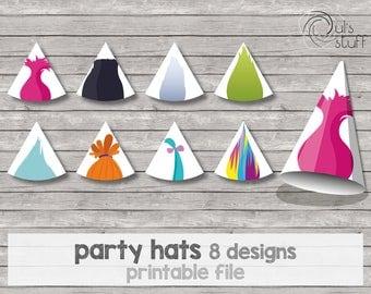 Printable Trolls party hat