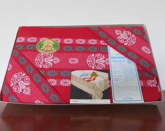 Table linen large tablecloth and 12 napkins new Basque in the original box made in France mid century 1950's 1960's 50's 60's