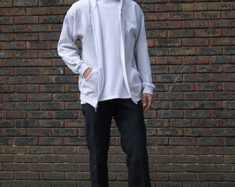 Baggy Oversized Soft Cotton Zip Hoodie With Woven Label Detail in Ash Grey Basic Staple Essential Streetwear RTS