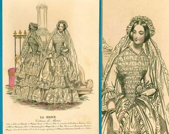 Antique wedding fashion print early Victorian 1840s bride gown veil lace La Mode