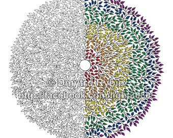 Coloring for adults. Mandala of 1000 leaves. Anti-stress. Gel pen, markers, Felt-tip pen