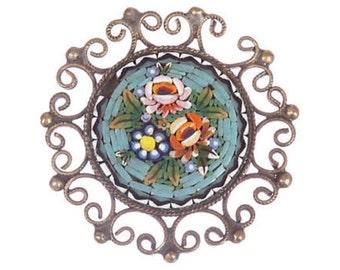 Victorian Grand Tour Micro Mosaic Pin