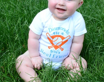 Diamonds are a girl's best friend- Baby or Toddler Girl Baseball Top