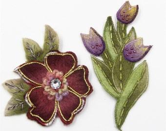 2pcs Floral Patch For Winter Dress ,Cashmere Applique,Bead Tulip Flower Patch ,Bead Flower Applique,Floral Applique