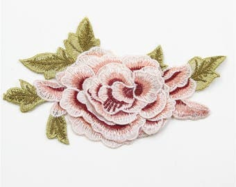 Pink Embroidery Rose Patch,Customized Floral Patch,Applique for Garment,Flower Embroidered Patch