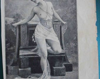 """Antique Russian Lithograph from """"Arabian Nights,"""" Girl On Chair, Russia"""