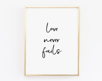 Printable art, Love never fails, printable quotes, dorm decor, wall art, wall gallery prints, wall gallery art, feminine art, love art print