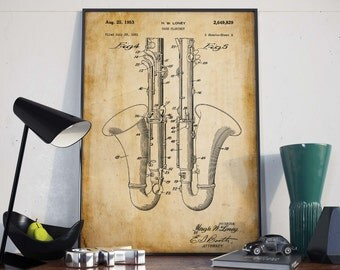 Bass Clarinet Poster  Clarinet  Bass Clarinet  Gift for Musician  Music Patents  Musical Instruments  Music Room Wall Art  Wall Print HPH388