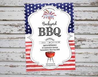 4th of July BBQ Invitation, 4th of July Barbeque Invite, July 4th Party Invitation, July 4th Backyard Invitation,  DIGITAL FILE