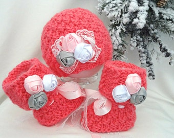 Crochet Baby Girl Set Crochet Baby Shoes Baby Hat Crochet Baby Beanie Baby Girl Winter Set Knitted Baby Set Baby Booties Baby Shoes