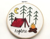 Explore Campfire Scene Embroidery Hoop