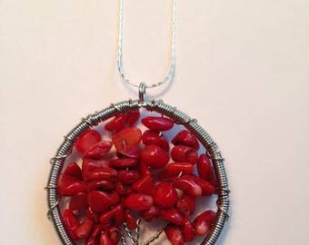 Tree of Life Pendant, Red Coral Tree of Life Pendant, Red Coral Pendant, Jewelry Making Supplies, Ships From USA