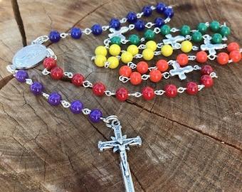 Rainbow Rosary. Rainbow Rosary beads. Prayer beads, Rosary necklace. Colorful Rosary. Traditional Catholic Rosary. 5 decades. Rosary Rainbow