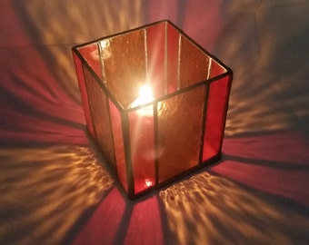 Stained glass candle shelter Orange Amber home decor tiffany