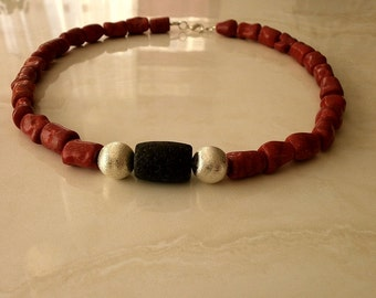 Gemstone chain necklace of coral with lava